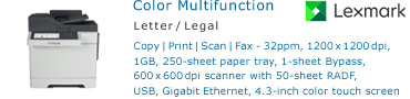 See Pricing for Lexmark CX517 Color Multifunction Printer