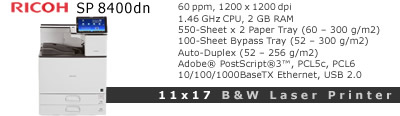 See Pricing for Ricoh SP 8400dn Black and White 11x17 Laser Printer