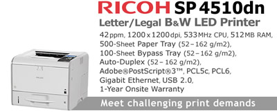 See Pricing on Ricoh SP 4510dn, Accessories and Supplies