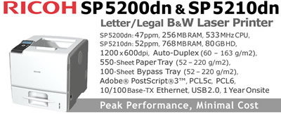 See Pricing on Ricoh SP 5200dn & SP 5210dn, Accessories and Supplies