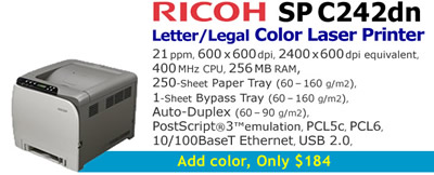 See Pricing on Ricoh SP C242dn, Accessories and Supplies