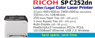 See Pricing on Ricoh SP C252dn, Accessories and Supplies