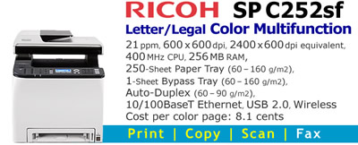 See Pricing on Ricoh SP C252sf, Accessories and Supplies