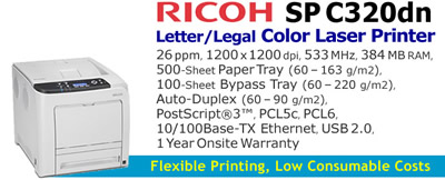 See Pricing on Ricoh SP C320dn, Accessories and Supplies